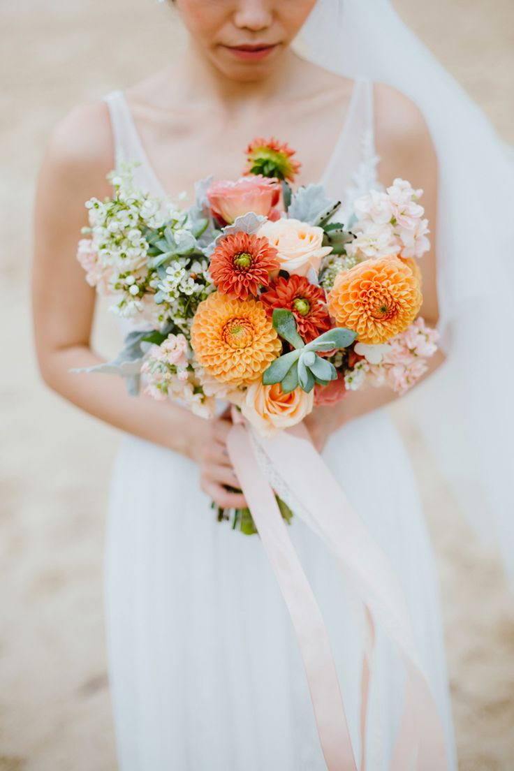 Blush and coral button pom Chrysanthemum bridal bouquet // Edric and Xuezhen's DIY-Filled Informal Ballroom Wedding