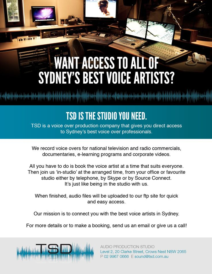TSD - Audio Production Studio. Giving you access to Sydney's best voice artists.