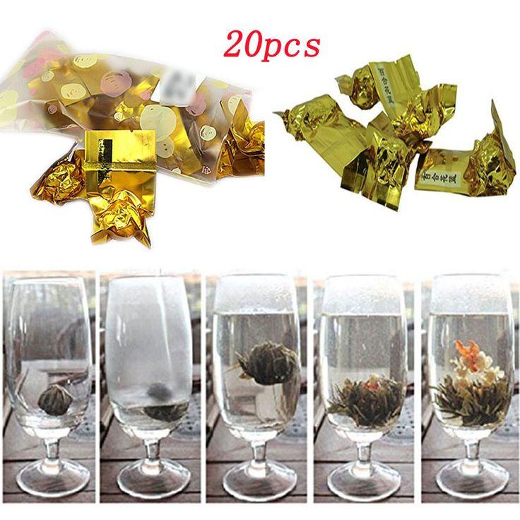 20pcs Teeblumen-Set Erblühtee-Blumen grüner & weißer Tee Teeblume Teerose Blume