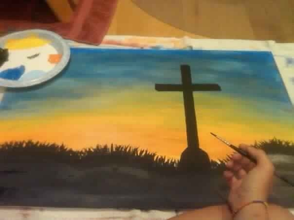 cross paintings on canvas | Diy cross sunset sky painting canvas | Paintings :)