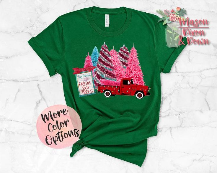Vintage Truck with Xmas Trees, Christmas Graphic T Shirt Gift for her – Gift Ideas Collaboration