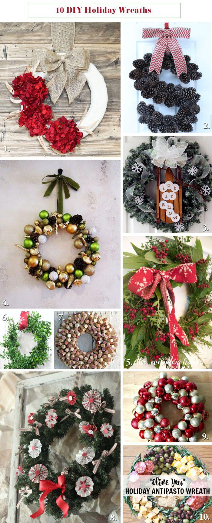 10 DIY Holiday Wreaths