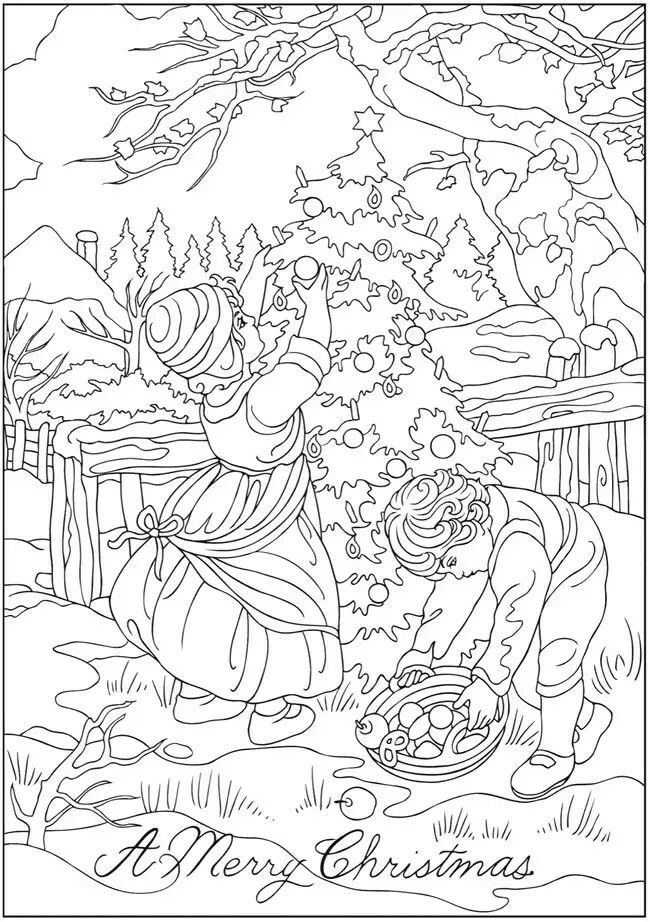 Creative Haven Vintage Christmas Greetings Coloring Book Welcome To Dover Publications