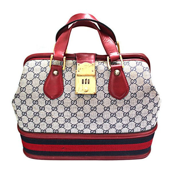 GUCCI monogrammed canvas & red leather travel bag