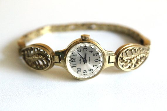 """Gold vintage watch. Soviet watch, Womens watchs, Women's soviet watch, Vintage watch, Russian watch, """"Chaika"""" 17 jewels, Mechanical watch on Etsy, $46.88"""