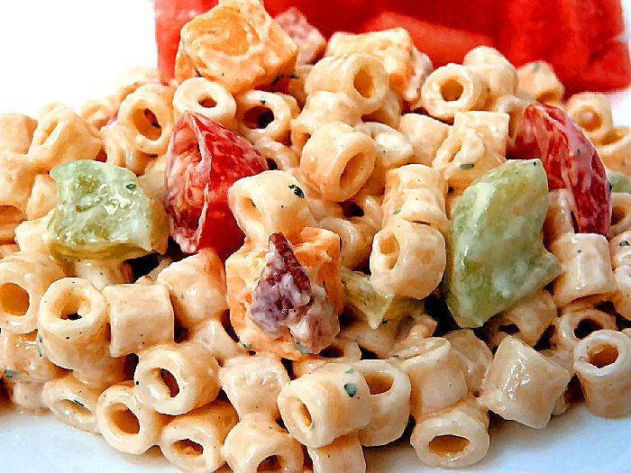 Creamy Bacon Ranch Pasta Salad - but I turned it baconless and added some chili seasoning. It was so refreshing and delish! If you liked the cold pasta salad I brought to the Old Friends Party, this is the recipe! (sans bacon) I also added a bit extra cucumber.