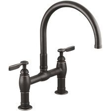 "Parq Two-Hole Deck-Mount Kitchen Sink Faucet with 9"" Gooseneck Spout and Lever Handles"