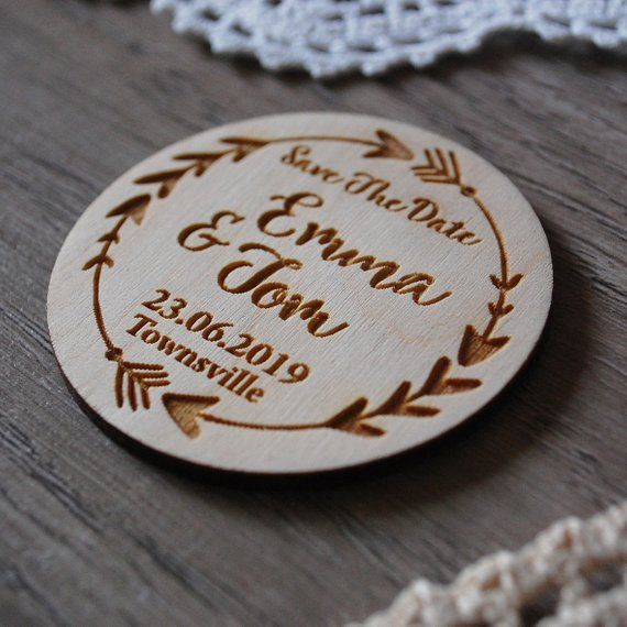 Wood Save The Date Magnets Arrow Boho Wedding Invitation Rustic