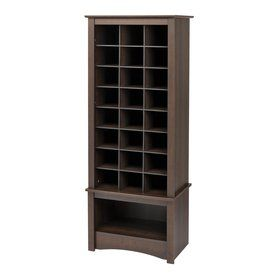 24 Pair Espresso Wood Shoe Cubbie Cabinet