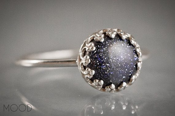 CONSTELLATION - Gemstone ring with blue Goldstone in Argenitium Sterling Silver - Made in your size on Etsy, £16.02
