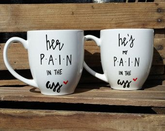 His and Hers Coffee Mugs Funny Couple Mugs Beard by HubsandHers
