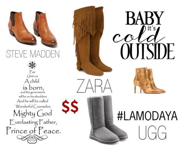 Botas $$ Navidad 2015 by lamodaya on Polyvore featuring moda, UGG Australia, Zara and Steve Madden