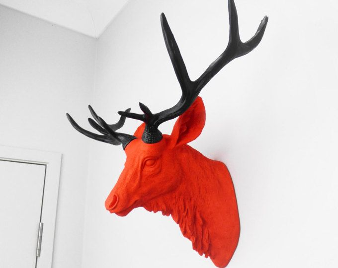 Animal Wall Mount, Faux Taxidermy, Deer Head, Animal Head, Faux Deer Head, Deer Wall Mount, Painted Deer Head, Fake Deer Head, Red Deer Head