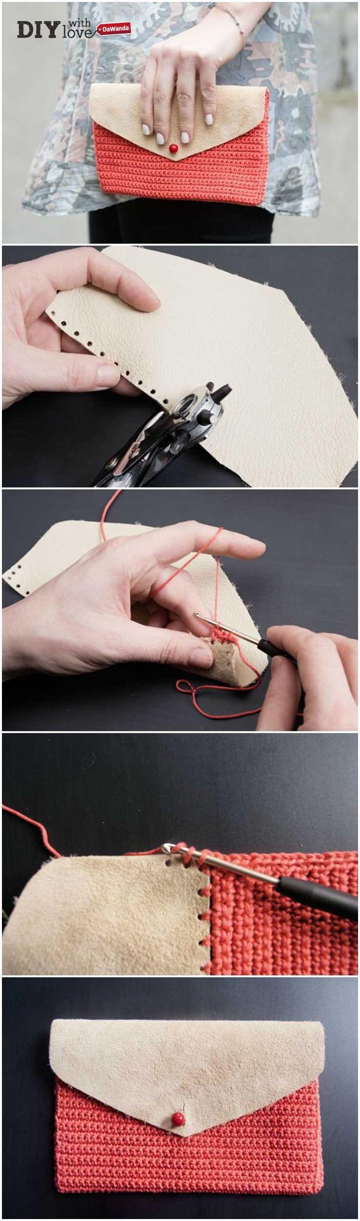 Un ritaglio di pelle e cotone lavorato a crochet: ecco come creare passo passo questa pochette - http://it.dawanda.com/tutorial-fai-da-te/uncinetto/come-realizzare-pochette-pelle-cotone-uncinetto