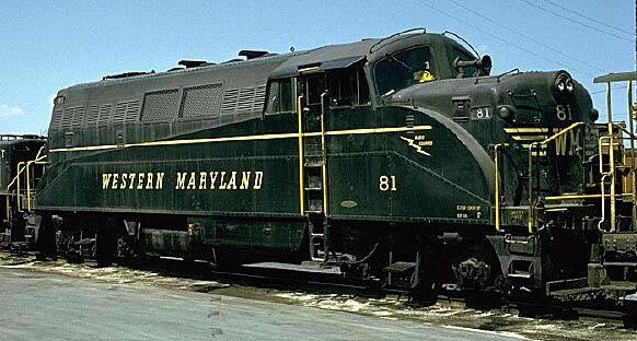 Western Maryland EMD BL2 Diesel Locomotive.