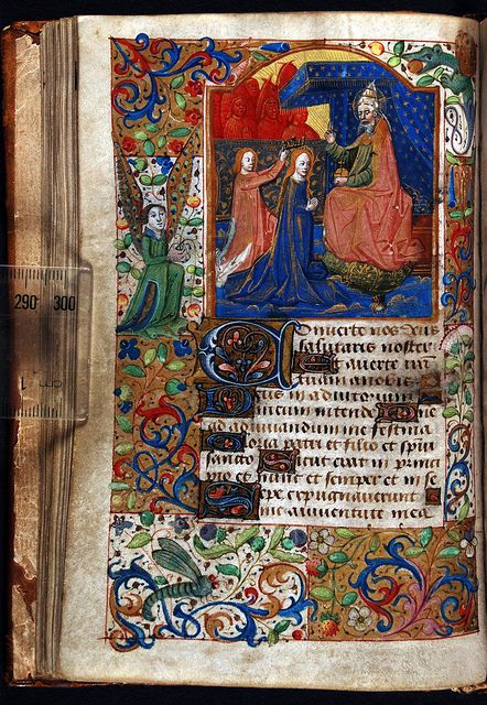 Book of Hours, Latin; the Coronation of the Virgin preceding Compline in the Hours of the Virgin. Northern France (perhaps Rouen), ca. 1480–1500, f.36v by Dunedin Public Libraries Medieval Manuscripts
