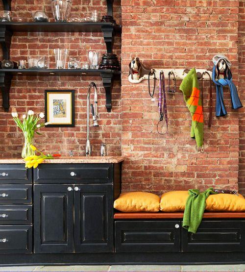 brick walls.: Open Shelves, Idea, Dark Cabinets, Black Cabinets, Expo Brick Wall, Black Kitchens, Granite Countertops, Kitchens Cabinets, Exposed Brick Wall