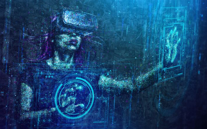 Download wallpapers virtual reality, creative, digital art, girl in glasses