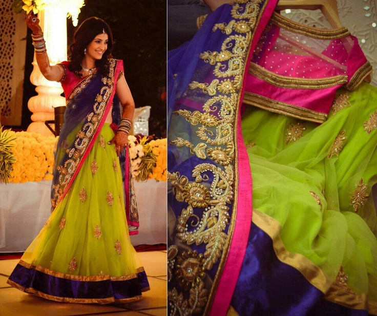 Very colorful. I have this green hand embroidered saree.