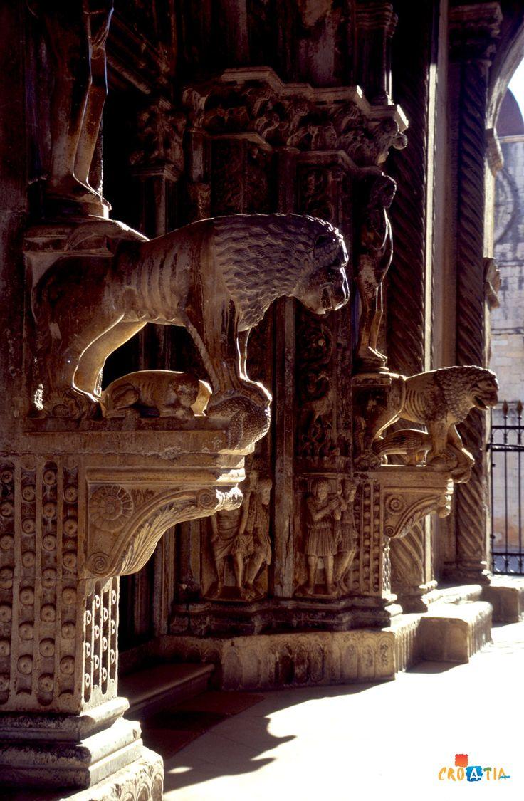 West portal of  the Trogir Cathedral, Trogir, Croatia