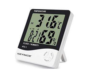 Keynice Indoor Thermomètre et hydromètre pour maison ou bureau avec LCD digital affichage réveil numérique HTC-1