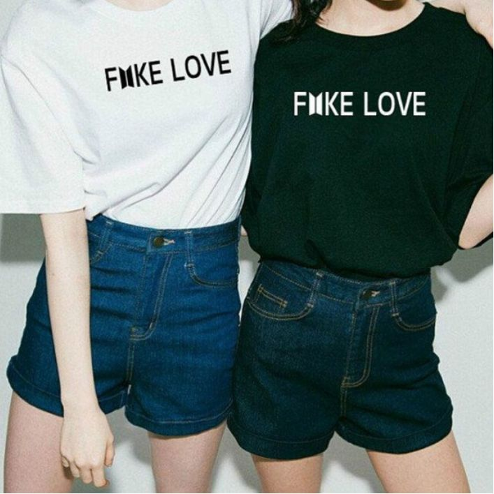 b3d98fa3f BTS FAKE LOVE Unisex T-Shirt Fake Love Bts Love Yourself Print Crewneck  Casual Cotton Funny T Shirt Women Tops Tees(S-XXXL) in 2019 | bts t shirt |  Bts ...