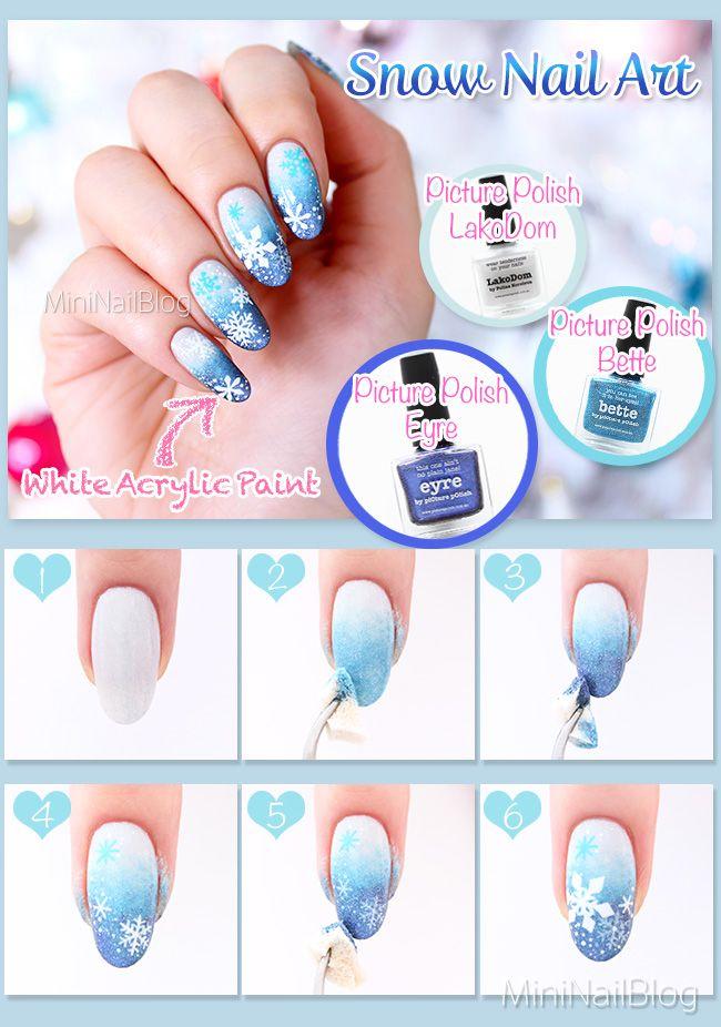 Snow Nails with my new favourite nail polishes! Details on my blog: https://nailbees.com/snow-nails #NailArt #Snowflake #WinterNails #Tutorial