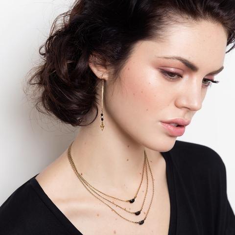 Triple Moon Necklace (SD1172) by Sandrine Devost  #multilayersnecklace #multistrands #layering #brassjewellery