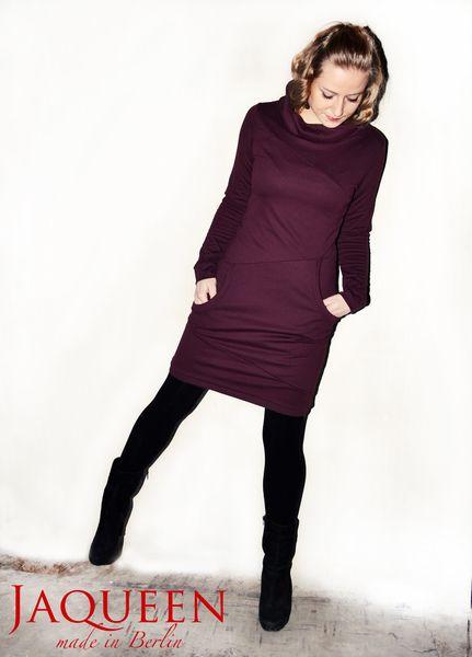 Kleid bordeaux Kragen Taschen von JAQUEEN auf DaWanda.com