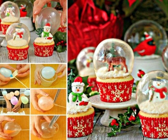 COOL IDEA FREE RECIPE AND INSTRUCTIONS Snow Globe Cupcakes with edible Gelatin Bubble perfect for Christmas.