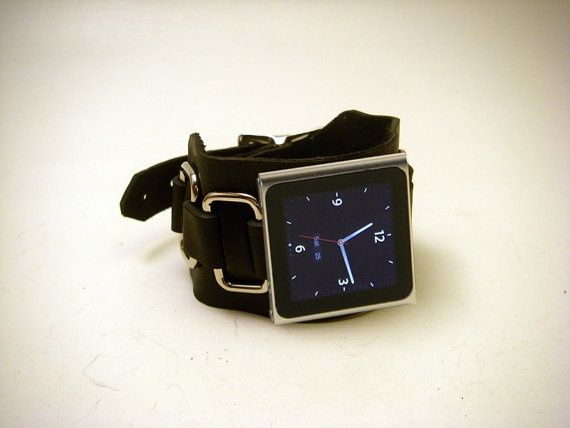 Leather iPod Nano watch band by exponentiallyawesome on Etsy, $55.00