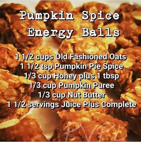 Pumpkin Spice Energy Balls:  this recipe uses the amazing Juice Plus Complete protein shake mix... which packs the punch of 25 whole foods with plant based nutrition : 13 g protein, 8 g fiber, all natural sweetener, low glycemic, gluten free, non-dairy, 100% vegan; no artificial flavoring, preservatives, or coloring