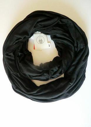 Весенне-летний трикотажный шарф хомут, снуд чёрного цвета из германии. (C