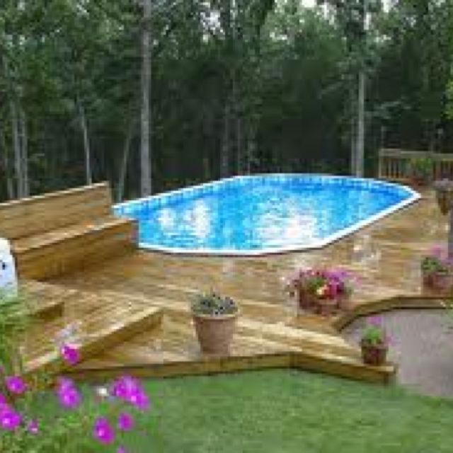 Above Ground Pool Landscaping Ideas Pictures: 124 Best Images About Above Ground Pool Decks On Pinterest