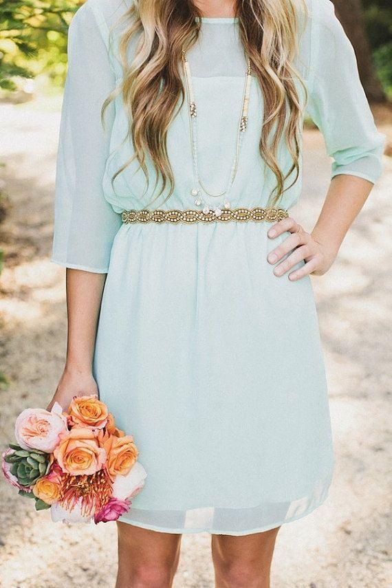Mint Green Bridesmaid Dress Short Chiffon by harsuccthing on Etsy, $99.00
