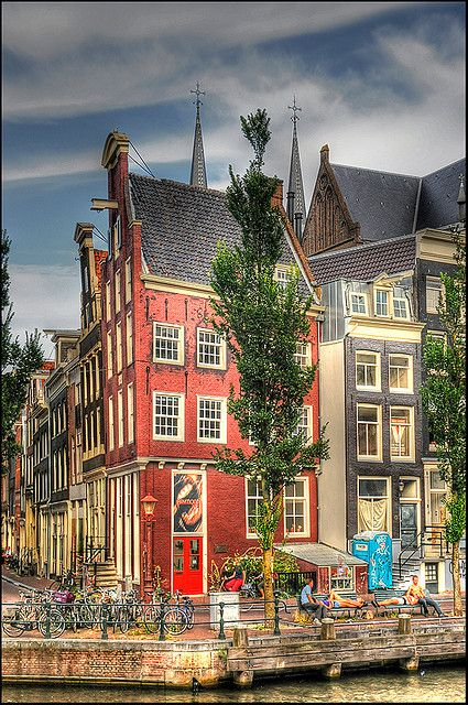 Amsterdam, The Netherlands, my second-favorite city in Europe (behind only London). I love the canals and the tap, narrow houses.