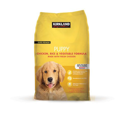 Kirkland Signature Puppy. VERY highly rated on pet food review site (4.5 stars). Not sure if actually sold at Costco anymore though - not at Costco.com. Adult food is $37 for 35 lbs