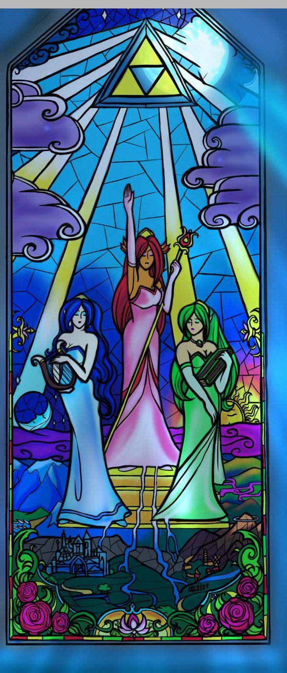 The goddesses: Din, Nayru, and Farore