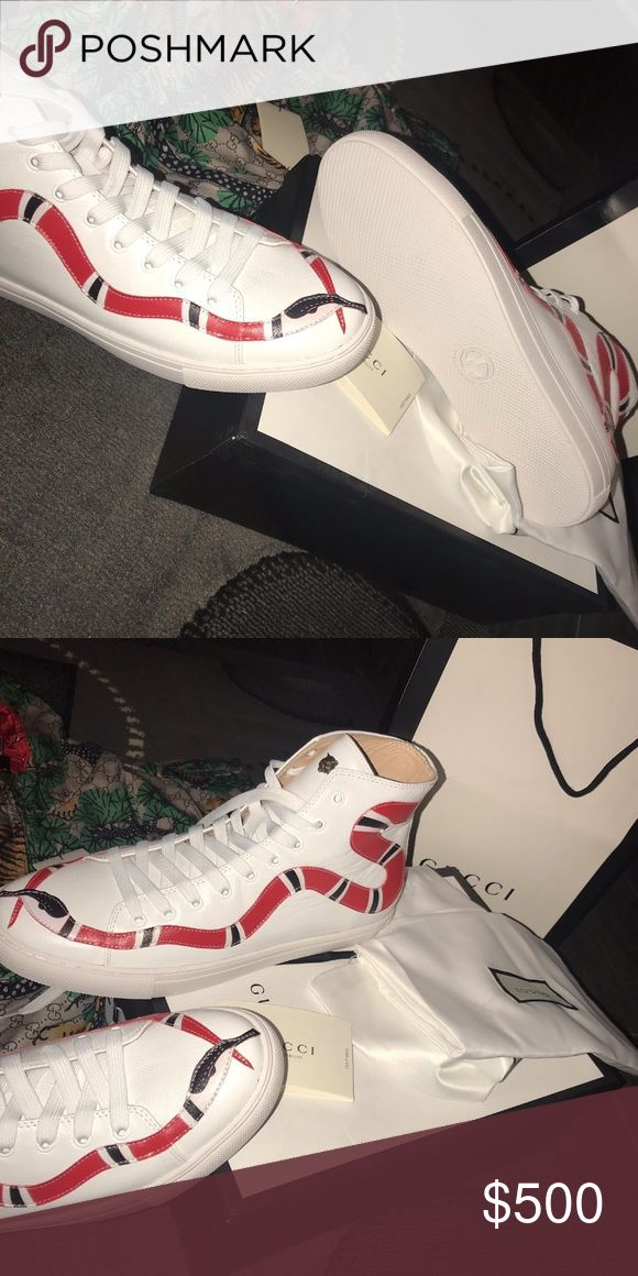 White Gucci Major Snake-Print High Tops Obviously gorgeous and brand new extremely comfortable White Gucci Major Snake-Print high tops! 🐍 never worn, only taken out of the box for pictures. Shipped within a day of purchase, serious buyers feel free to ask questions!  ‼️ Tags, Receipt, Gucci Shoe Box, Gucci Shoe Bags, and Gucci Shopping Bag included ‼️ looking to ship ASAP Gucci Shoes Sneakers
