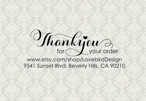 Pre-inked Thank You Stamp with sender's address, ETSY thank you for your order stamp