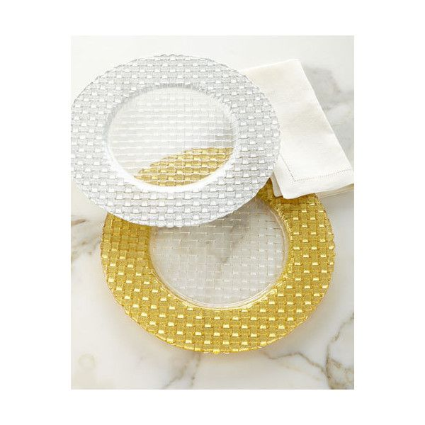Braid Glitter Charger Plate ($28) ❤ liked on Polyvore featuring home, kitchen & dining, dinnerware and gold