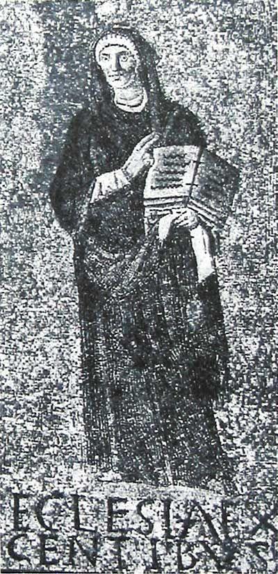 Santa Sabina, Roma. Il mosaico del V secolo (432–440).  La chiesa dei gentili