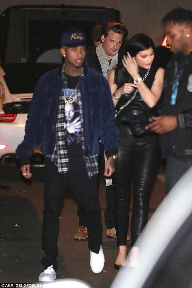 Reunited: Kylie Jenner and Tyga put on a united front as they arrived for a night out at 1OAK nightclub on Thursday evening, in the wake of Blac Chyna drama