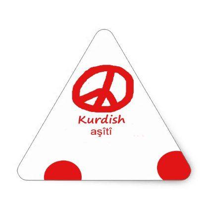 Kurdish Language And Peace Symbol Design Triangle Sticker - craft supplies diy custom design supply special