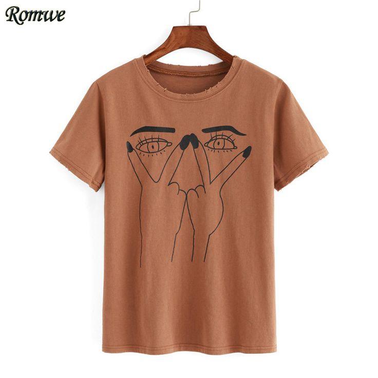 Romwe Vogue venda quente solta encabeça coreano moda cáqui olho impressão rasgado t shirt de algodão de manga curta em torno do pescoço em Camisetas de Das mulheres Roupas & Acessórios no AliExpress.com | Alibaba Group