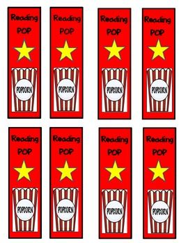 Your little readers will be a reading POP star with these cute popcorn-theme bookmarks and a matching reader's log.  I designed these for my take-h...