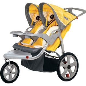 New yellow & gray double jogging stroller