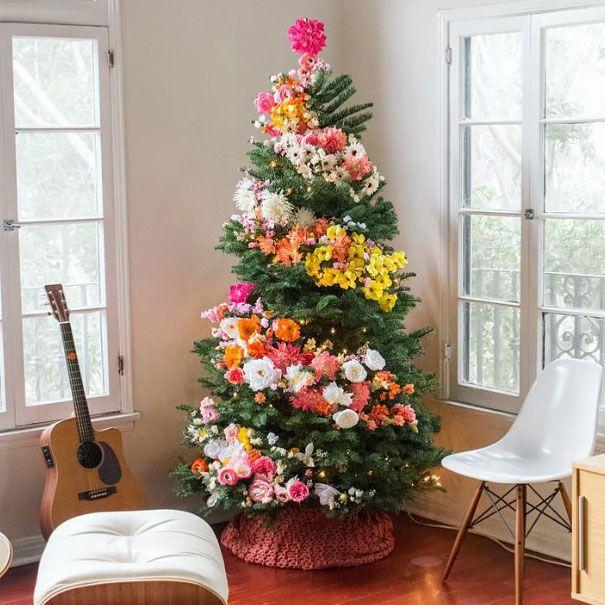 Vianočné stromčeky zdobené kvetmi   Nový trend Vianoc? 2