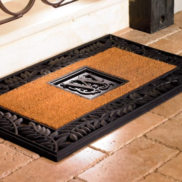 Our Personalized Olive Border Entry Mat makes working hard a very attractive proposition. Hardly of the underperforming variety, the mat sculpted rubber and natural coir are durable enough for the most utilized entryways.        Natural coir fibers are locked in place to minimize shedding       Weatherproof sculpted rubber       Non-skid backing       Personalize with your single initial Measures 3
