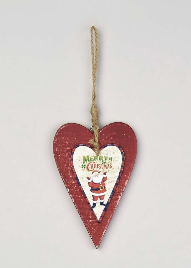 Christmas Wooden Hearts Tree Decoration (15cm x 10cm) View 1